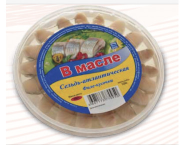 Сельдь филе-кусочки в масле осень 500гр.